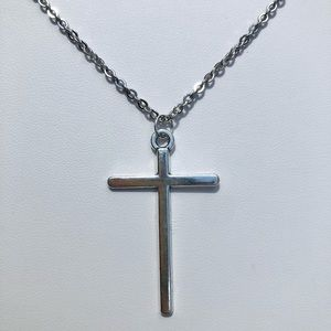 Simple Cross Christian Steel Necklace NWT